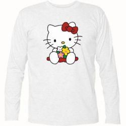 Футболка с длинным рукавом Kitty с букетиком - FatLine