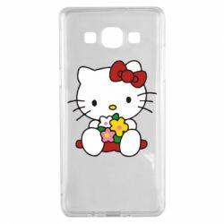 Чехол для Samsung A5 2015 Kitty с букетиком