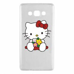 Чехол для Samsung A7 2015 Kitty с букетиком