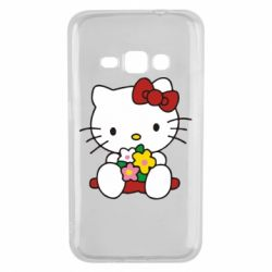 Чехол для Samsung J1 2016 Kitty с букетиком