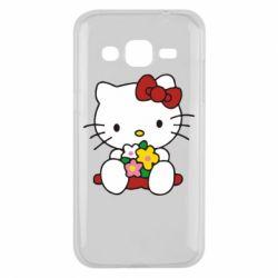 Чехол для Samsung J2 2015 Kitty с букетиком