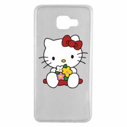Чехол для Samsung A7 2016 Kitty с букетиком