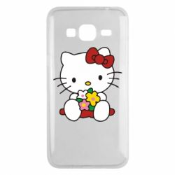 Чехол для Samsung J3 2016 Kitty с букетиком