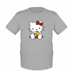 Детская футболка Kitty с букетиком - FatLine