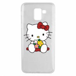 Чехол для Samsung J6 Kitty с букетиком