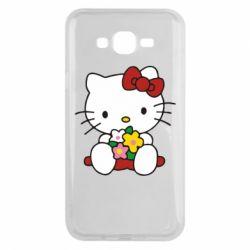 Чехол для Samsung J7 2015 Kitty с букетиком