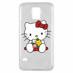 Чехол для Samsung S5 Kitty с букетиком