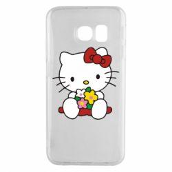 Чехол для Samsung S6 EDGE Kitty с букетиком