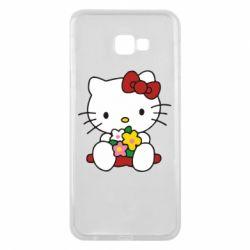 Чехол для Samsung J4 Plus 2018 Kitty с букетиком