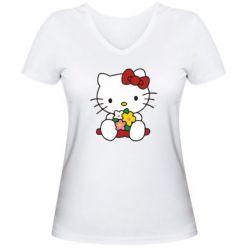 Женская футболка с V-образным вырезом Kitty с букетиком