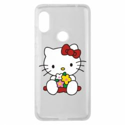 Чехол для Xiaomi Redmi Note 6 Pro Kitty с букетиком