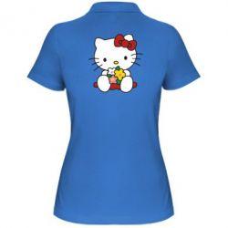 Женская футболка поло Kitty с букетиком - FatLine