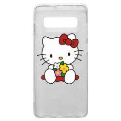 Чехол для Samsung S10+ Kitty с букетиком