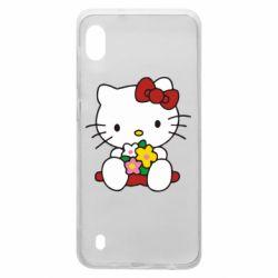 Чехол для Samsung A10 Kitty с букетиком