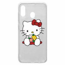 Чехол для Samsung A20 Kitty с букетиком