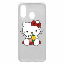 Чехол для Samsung A40 Kitty с букетиком