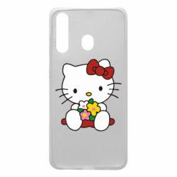 Чехол для Samsung A60 Kitty с букетиком
