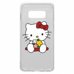 Чехол для Samsung S10e Kitty с букетиком