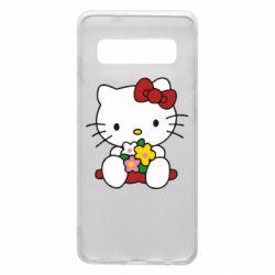 Чехол для Samsung S10 Kitty с букетиком