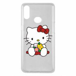 Чехол для Samsung A10s Kitty с букетиком