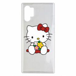 Чехол для Samsung Note 10 Plus Kitty с букетиком