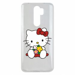 Чехол для Xiaomi Redmi Note 8 Pro Kitty с букетиком