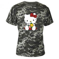 Камуфляжная футболка Kitty с букетиком