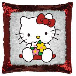 Подушка-хамелеон Kitty с букетиком