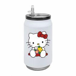 Термобанка 350ml Kitty с букетиком