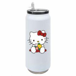 Термобанка 500ml Kitty с букетиком