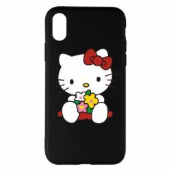 Чехол для iPhone X/Xs Kitty с букетиком