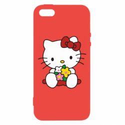 Чехол для iPhone5/5S/SE Kitty с букетиком