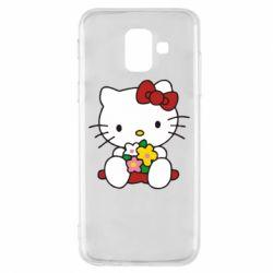Чехол для Samsung A6 2018 Kitty с букетиком