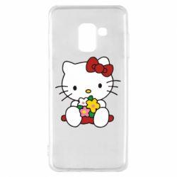Чехол для Samsung A8 2018 Kitty с букетиком