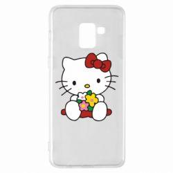 Чехол для Samsung A8+ 2018 Kitty с букетиком