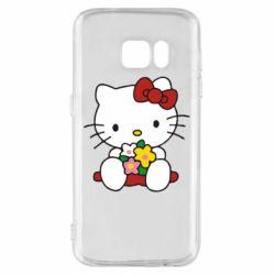 Чехол для Samsung S7 Kitty с букетиком