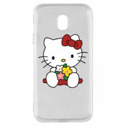 Чехол для Samsung J3 2017 Kitty с букетиком