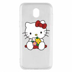 Чехол для Samsung J5 2017 Kitty с букетиком