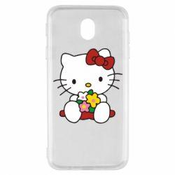 Чехол для Samsung J7 2017 Kitty с букетиком