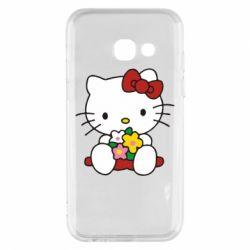 Чехол для Samsung A3 2017 Kitty с букетиком