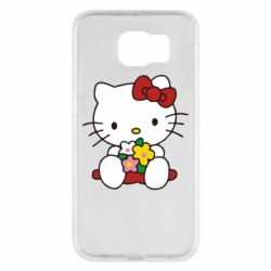 Чехол для Samsung S6 Kitty с букетиком