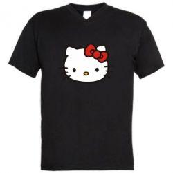 Мужская футболка  с V-образным вырезом Kitty - FatLine