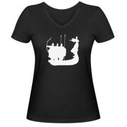 Женская футболка с V-образным вырезом Кий,Щек,Хорив - FatLine