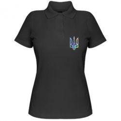 Женская футболка поло Класичний герб України голограмма