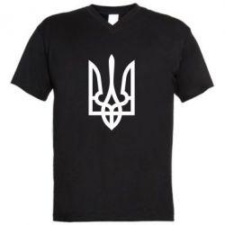 Мужская футболка  с V-образным вырезом Класичний герб України