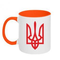 Кружка двухцветная Класичний герб України - FatLine