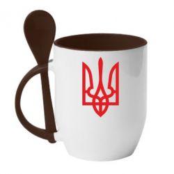Кружка с керамической ложкой Класичний герб України - FatLine