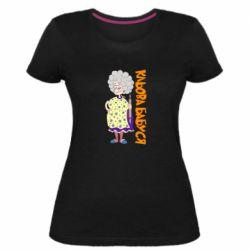 Женская стрейчевая футболка Клевая бабушка со скалкой