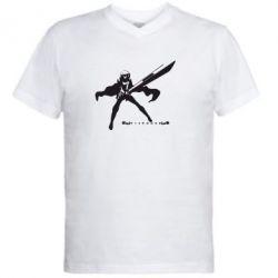 Мужская футболка  с V-образным вырезом Клеймор - FatLine