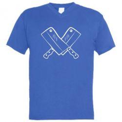 Мужская футболка  с V-образным вырезом Knives - FatLine